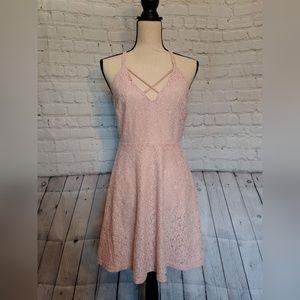 Alythea Pink Lace Dress Criss Cross Dress Sz S